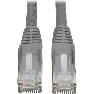 Tripp Lite Cat6 GbE Gigabit Ethernet Snagless Molded Patch Cable UTP Gray RJ45 M/M 35ft 35' (N201-035-GY)