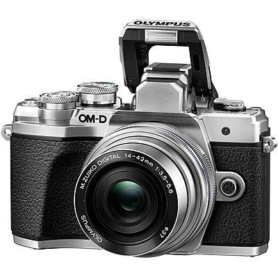 Olympus OM-D E-M10 Mark III 16.1 Megapixel Mirrorless Camera with Lens, 14 mm, 42 mm, Silver (V207072SU010)