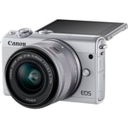 Canon EOS M100 24 Megapixel Mirrorless Camera with Lens, 15 mm, 45 mm (Lens 1), 55 mm, 200 mm (Lens 2), White (2210C021)
