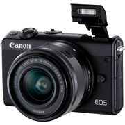 Canon EOS M100 24 Megapixel Mirrorless Camera with Lens, 15 mm, 45 mm, Black (2209C011)
