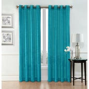 Ebern Designs Belser Solid Semi-Sheer Grommet Curtain Panels (Set of 2); Turquoise