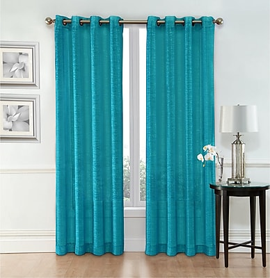 Ebern Designs Belser Solid Semi-Sheer Grommet Curtain Panels (Set of 2); Turquoise