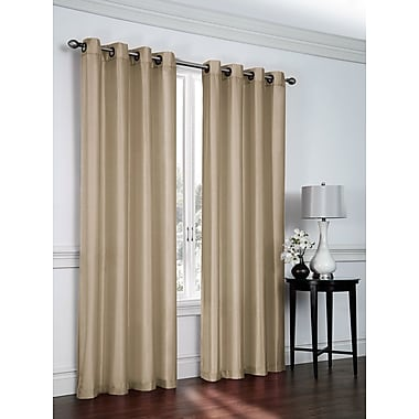 Ebern Designs Belterra Faux Silk Semi- Sheer Grommet Curtain Panels (Set of 2); Tan