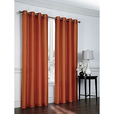 Ebern Designs Belterra Faux Silk Semi- Sheer Grommet Curtain Panels (Set of 2); Spice