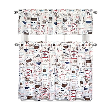 East Urban Home Coffee Shoppe Complete 3 Piece Kitchen Curtain Set