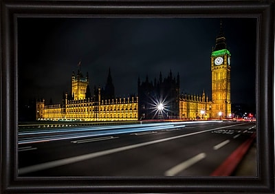 Ebern Designs 'Colors in the Night' Photographic Print; Bistro Expresso Framed Paper
