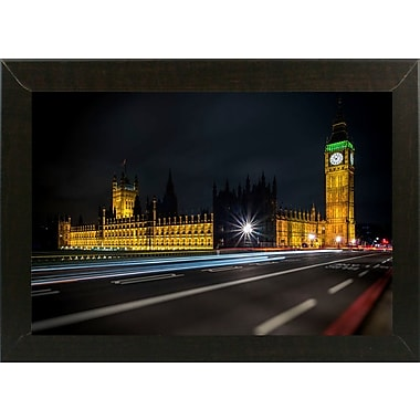 Ebern Designs 'Colors in the Night' Photographic Print; Brazilian Walnut Wood Medium Framed Paper