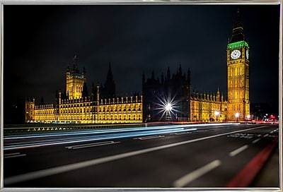 Ebern Designs 'Colors in the Night' Photographic Print; Silver Metal Framed Paper