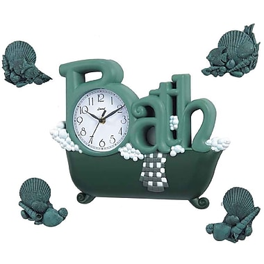 Red Barrel Studio CallieSpring Bath Wall Clock in Green w/ Four D cor