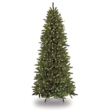 The Holiday Aisle 7.5' Green Slim Artificial Christmas Tree w/ 500 Clear Lights w/ Stand
