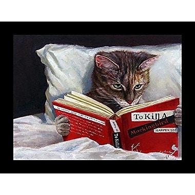 'Late Night Thriller Cat Reading to Kill a Mockingbird' Framed Graphic Art Print on Wood