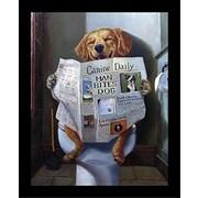 Winston Porter 'Dog Gone Funny Dog Reading Newspaper' Framed Graphic Art Print on Wood