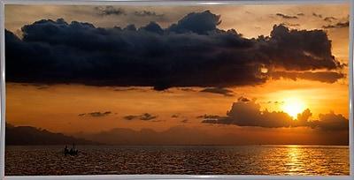 Ebern Designs 'Panorama Sunset No 1' Photographic Print; White Metal Framed Paper
