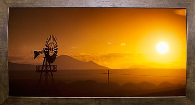 Ebern Designs 'Panorama Sunset No 2' Photographic Print; Cafe Mocha Framed Paper