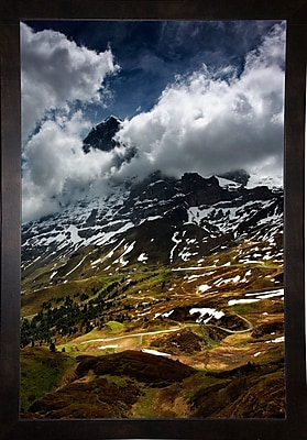 East Urban Home 'The North Face of Eiger' Photographic Print; Black Wood Medium Framed Paper