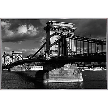 Williston Forge 'Budapest Chain Bridge Black and White' Photographic Print; White Metal Framed Paper