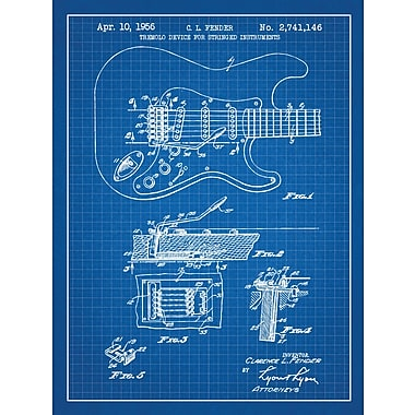 Williston Forge 'Fender Stratocaster Guitar' Blueprint Graphic Art in Blue Grid/White Ink