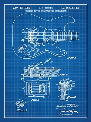 Williston Forge 'Fender Stratocaster Guitar' Blueprint Graphic Art in Blue Grid/White Ink