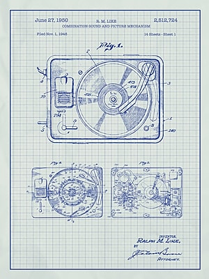 Williston Forge 'Turntable Record Player' Blueprint Graphic Art in White Grid/Blue Ink
