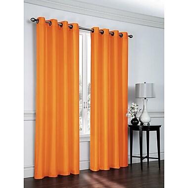 Ebern Designs Belterra Faux Silk Semi- Sheer Grommet Curtain Panels (Set of 2); Pumpkin