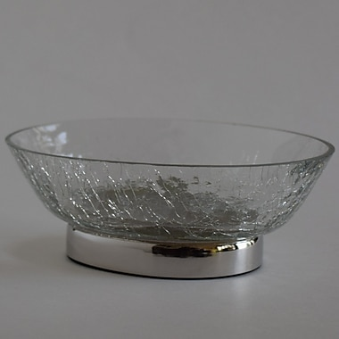 Charlton Home Darien Oval Crackle Glass Soap Dish