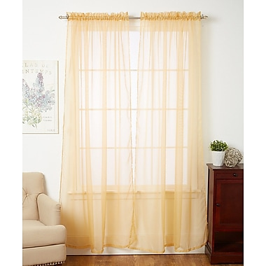 Ophelia & Co. Aman Solid Sheer Rod Pocket Curtain Panels (Set of 4); Gold