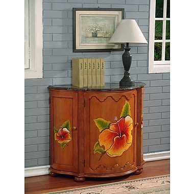 South Sea Rattan Hand-Painted Swivel Front Bar 3 Door Accent Cabinet