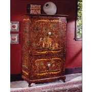 South Sea Rattan Hand-Painted TV Armoire