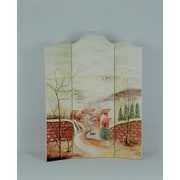 South Sea Rattan 72'' x 56'' Hand-Painted 3 Panel Room Divider