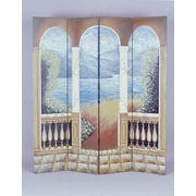 South Sea Rattan 78'' x 18'' Hand-Painted 3 Panel Room Divider
