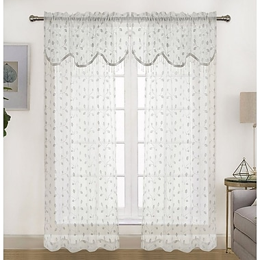 Darby Home Co Shippenville Embroidered Matte Floral Sheer Rod Pocket Curtain Panels (Set of 2)