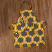 Ivy Bronx Contemporary Cotton Chef Apron; Charcoal/Mustard