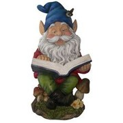 August Grove Nyla Gnome Reading Book Statue