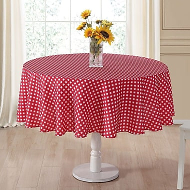 August Grove Danh Round Plaid Fabric Tablecloth; Red