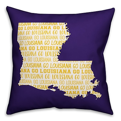 East Urban Home Louisiana Go Team Square Throw Pillow
