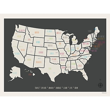 Zoomie Kids 'Personalized USA Travel Map' Graphic Art