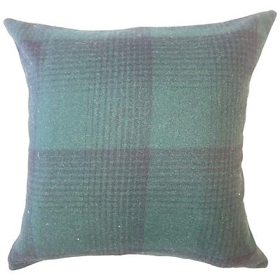 Brayden Studio Wigginton Plaid Down Filled Velvet Lumbar Pillow; Green