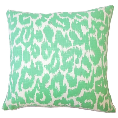 Brayden Studio Wetzler Ikat Down Filled Linen Lumbar Pillow; Jade