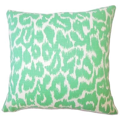 Brayden Studio Wetzler Ikat Down Filled Linen Lumbar Pillow; Jade