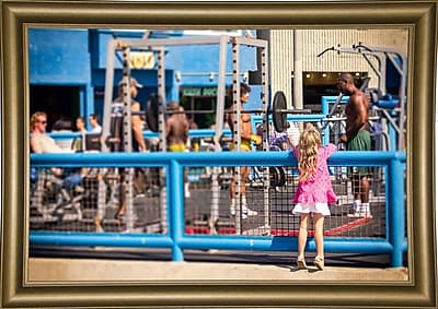 Ebern Designs 'Curiosity, Muscle Beach' Photographic Print; Bistro Gold Framed Paper