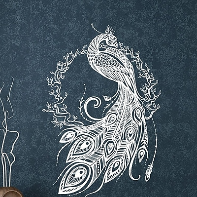 Decal House Peacock Bedroom Decor Wall Decal; White