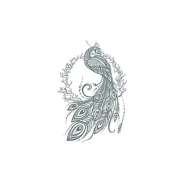 Decal House Peacock Bedroom Decor Wall Decal; Gray
