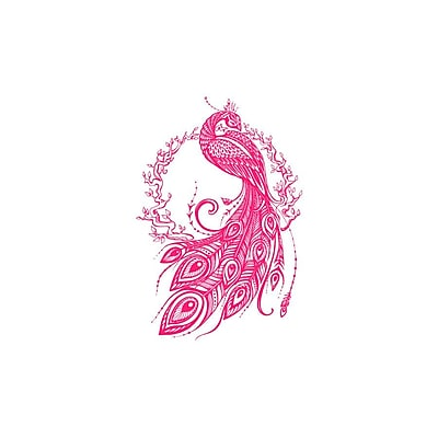 Decal House Peacock Bedroom Decor Wall Decal; Hot Pink