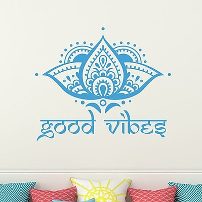 Decal House Lotus Good Vibes Wall Decal; ice Blue