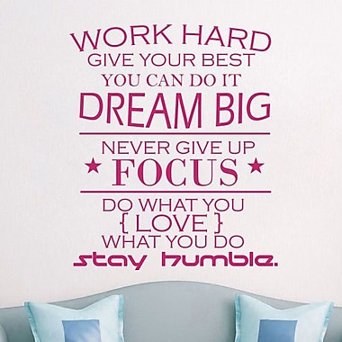 Decal House Work Hard Quote Wall Decal; Hot Pink