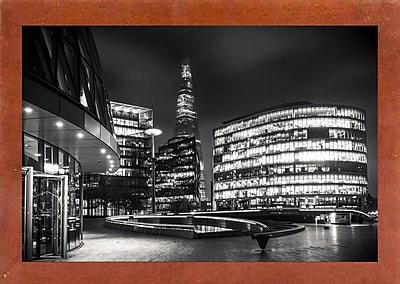 Ebern Designs 'Gotham Side of London' Photographic Print; Canadian Walnut Wood Medium Framed Paper