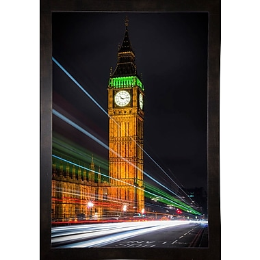 Ebern Designs 'Streams Over Westminster' Photographic Print; Black Wood Medium Framed Paper