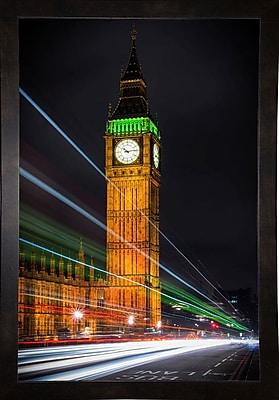 Ebern Designs 'Streams Over Westminster' Photographic Print; Black Wood Medium Framed Paper