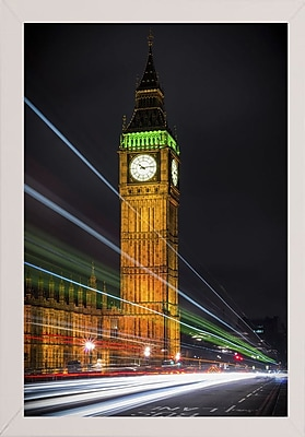 Ebern Designs 'Streams Over Westminster' Photographic Print; White Wood Medium Framed Paper