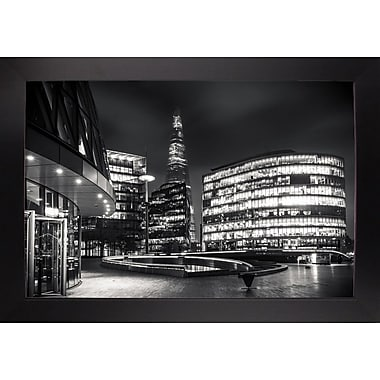 Ebern Designs 'Gotham Side of London' Photographic Print; Black Wood Large Framed Paper